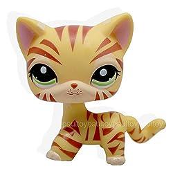 #1451 Rare Littlest Pet Shop Yellow Orange Tiger Cat Kitty Green Eyes LPS Toy