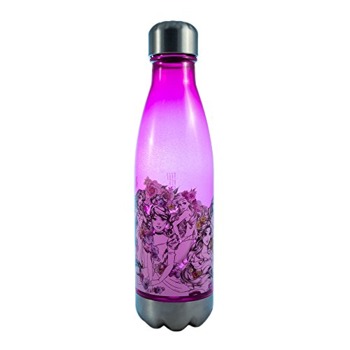 Princess Drink Bottle - Silver Buffalo DP11178J Disney Princesses Floral Sketch Plastic Curved Water Bottle with Screw Top, 20-Ounces