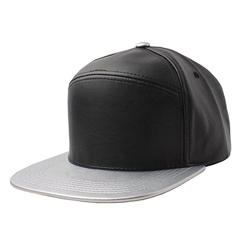 Faux Leather Snapback Panel Hat Baseball Cap Hip Hop Adjustable (US Seller)/Black/Silver-NEW Plain Flat (Assassin Creed Costume For Kids Cheap)
