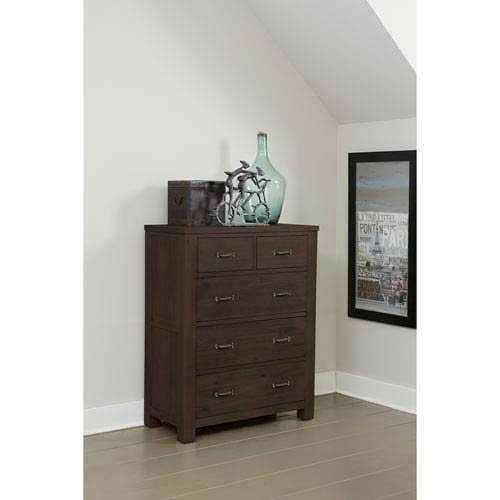 NE Kids Highlands 5 Drawer Chest in Espresso Transitional Dr