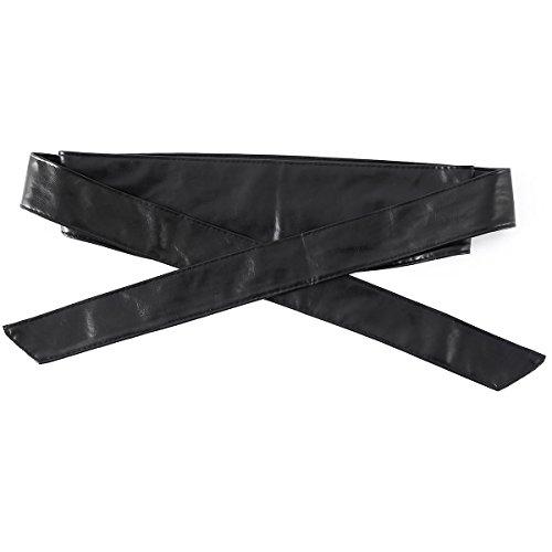 Mode Féminine Simplee Vêtements Pu Cuir Large Ceinture Corset Noir De Cincher