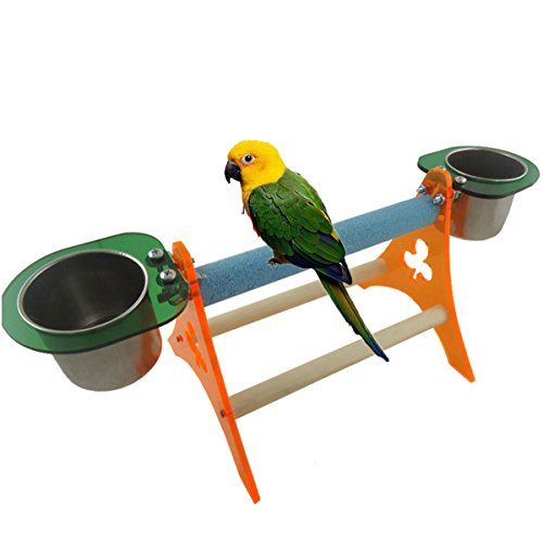 UPC 714402085311, Bird Perch Toy for Parrot Macaw African Greys Budgies Parakeet Cockatiel Cockatoo Conure Lovebird Table Training Perch Stand with Seed Food Feeder