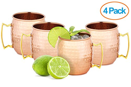 Chef's Star Set of 4 Handmade Hammered Copper Moscow Mule Mug – 100% Pure Copper with Brass Handle – Hammered Moscow Mule Mug Cup