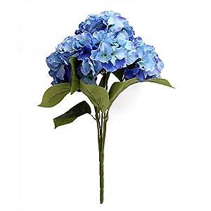 Duosuny Artificial Silk Fake 5 Heads Flower Bunch Bouquet Home Hotel Wedding Party Garden Floral Decor Hydrangea 3