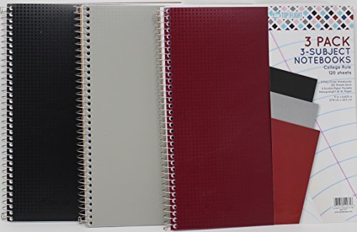 Top Flight Wired 3-Subject Wirebound Notebook (Black   Gray   Red) - 3 Count