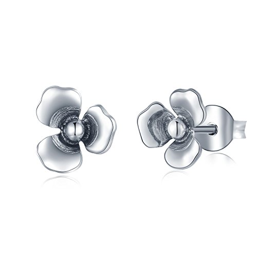 - MBLife 925 Sterling Silver 3D Style Three-Patel Mariposa Lily Flower Stud Earrings