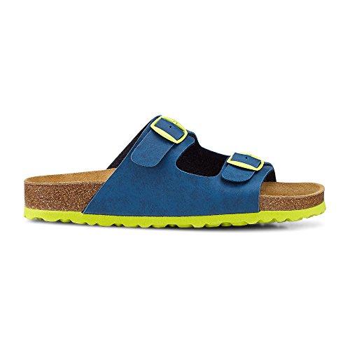 skør Kinder (Jungs) Bio-Hausschuh, Blaue Sandalen Aus Leder-Synthetik-Mix mit Bequemen Fußbett Blau-Mittel