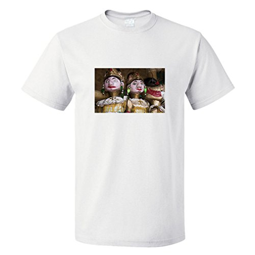 Style in Print Wayang Golek Wood Puppet Cotton Unisex T-Shirt Tee Top White X-Large