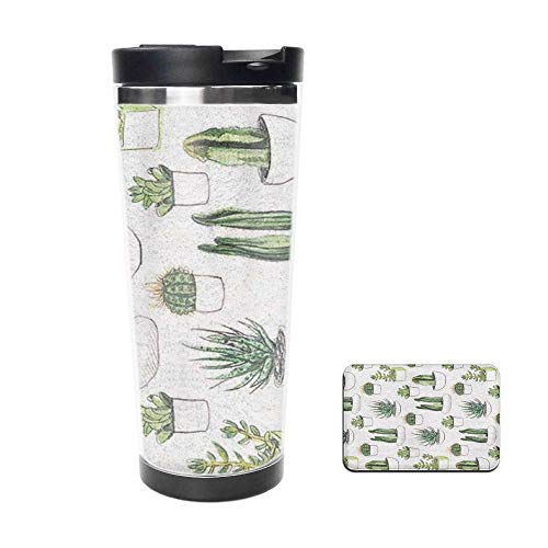 Green Cactus Flower Succulents Aloe Double Wall Stainless Steel Travel Mug Insulated 18oz Coffee Tumbler Cup Flask for Hot & Cold Drinks