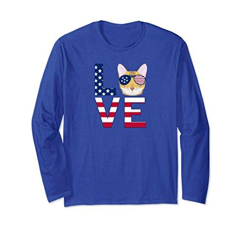 Unisex Patriotic Bengal Cat Long Sleeve T-Shirt Medium Royal Blue