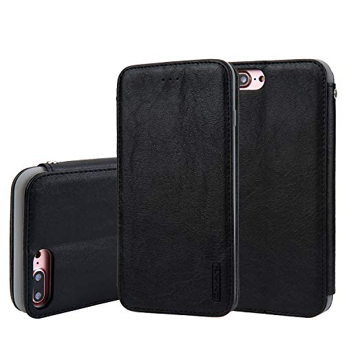 Flip Case Cover Compatible with iPhone 7 Plus iPhone 8 Plus Black 5.5inch Leather Business Thin Slim Holder Card Slot (ID Card,Credit Card) Full Protection,Accurate Cutouts Fashion Gift Girls Boys