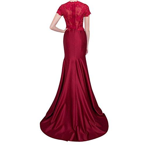 Grau Kleider Ballkleid Charmant Abendkleider Spitze Rot Dunkel Kleider Damen Jugendweihe Festliche Neu Kurzarm Langes q6wO41q