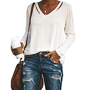 Vivitulip Womens Casual V Neck Long Sleeve Tunic Solid Color Tops Strape Shirts Soft Loose Blouse