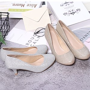 Classic Bridal Wedding for wear Work Gold Pump Glitter Heel Casual Day STELLE Party Women's Low Shoes O7ABO5q