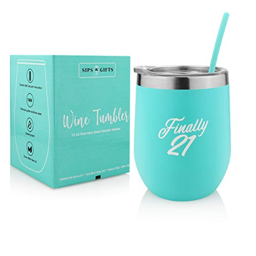 21st Birthday Gifts For Women- Finally 21 -Womens Gift Under 25 Dollars - 12 oz Stainless Steel Stemless Wine Tumbler with Lid And Straw -Insulated Travel Wine Glass- Wine Glasses With Funny Sayings