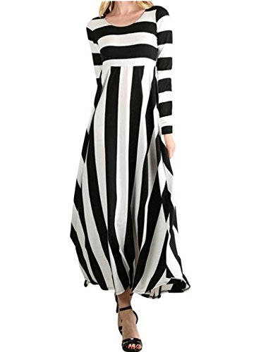 ORQ Women's Casual Loose Striped Round Neck Long Sleeve Fit and Flare Long Maxi Dress