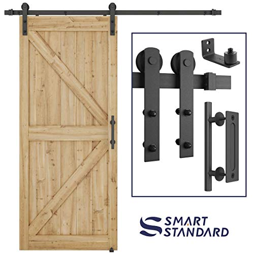 "6.6 FT Heavy Duty Sturdy Sliding Barn Door Hardware Kit, 6.6FT Double Rail, Black, (Whole Set Includes 1x Pull Handle Set & 1x Floor Guide) Fit 36""-40"" Wide Door Panel (I Shape Hanger)"