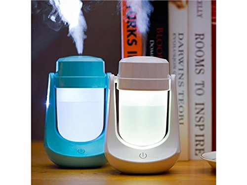 Yunqir Compatible Air Lamp Aroma Humidifier USB Mini Night Light LED Ultrasonic Air Aromatherapy Essential Purifier Atomizer Super Quiet Fragrance Machine (White)