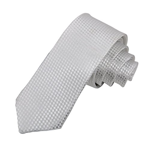 DAE1006 White Skinny Ties Lot Collection Checkered Set By Dan (Thin White Tie)