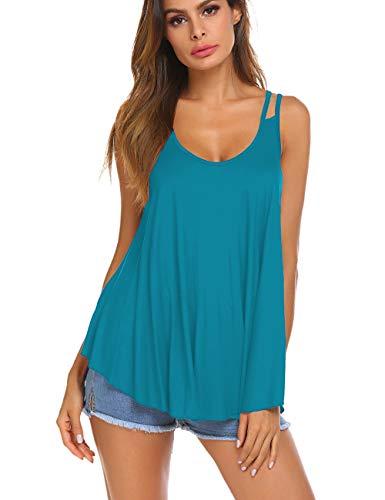 Halife Women Casual Spaghetti Strap Tunic Tops Summer V Neck Sleeveless Flowy Tank Shirts Acid Blue L