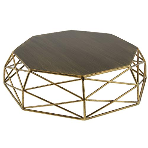 (Prettyia Geometric Shape Tray Hollow Out Vintage Gold/Silver Cake Stand Cake Tools - Gold)