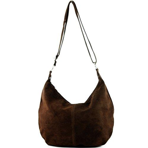 Sac à main italien sac à bandoulière cabas femme en cuir véritable sac T02 Schokoladenbraun