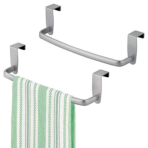 mDesign Modern Kitchen Over Cabinet Strong Steel Towel Bar Rack - Hang on Inside or Outside of Doors - Storage and Organization for Hand, Dish, Tea Towels - 9.75 Wide - 2 Pack - Silver