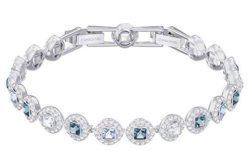 Swarovski Crystal Blue Angelic Square Rhodium-Plated Bracelet