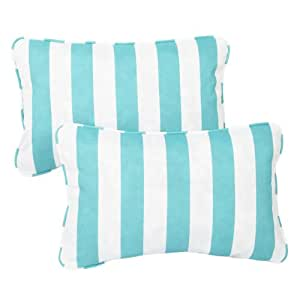 Mozaic Sabrina Corded Indoor/Outdoor Throw Pillows, 13 by 20-Inch, Aqua Stripe, Set of 2