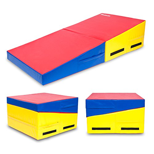 "Matladin 58""x29""x14"" Folding Gymnastics Cheese Wedge Incline Mat, Gym Fitness Tumbling Skill Shape Mat for Kids Girls Home Training Exercise (Red+Yellow+Blue 58""x29""x14"")"