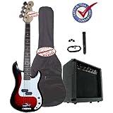 Crescent Electric Bass Guitar Starter Kit - Redburst Color (Includes Amp & CrescentTM Digital E-Tuner)