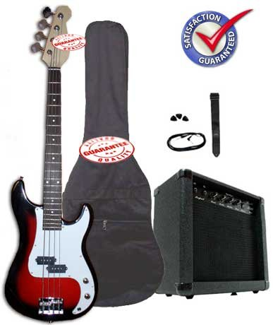 Crescent Electric Bass Guitar Starter Kit - Redburst Color (Includes Amp & CrescentTM Digital E-Tuner) -
