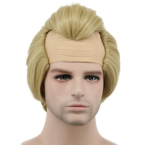Karlery Men Short Straight Blonde Wig Halloween Cosplay Wig Anime Costume Party -