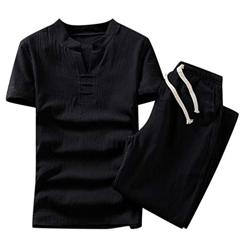 Men Cotton Linen Shirts and Shorts Casual Yoga Clothes Set 2 Piece Outfits Plus Size Embroidery Beachwear(Black,XXL)