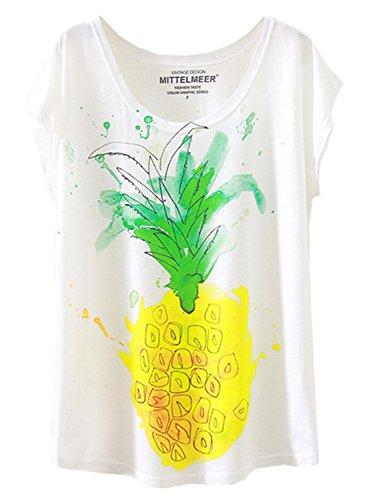 Futurino Women's Cute Pineapple Print Fruit Graphic Short Sleeve T-shirt Tops,X-Small / Small,White,X-Small / - Pineapple Tee