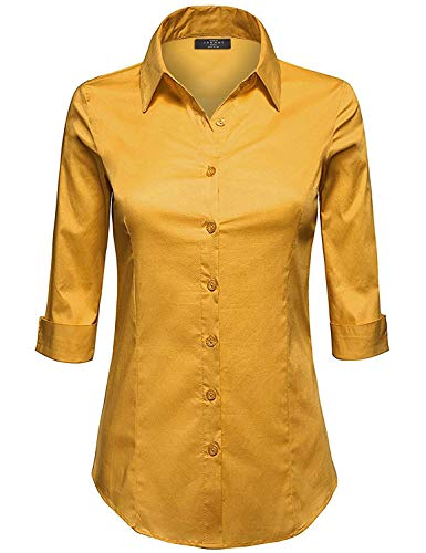 Made By Johnny WT1947 Womens 3/4 Sleeve Tailored Button Down Shirts L Dark_Mustard (Formal Johnny Dress)