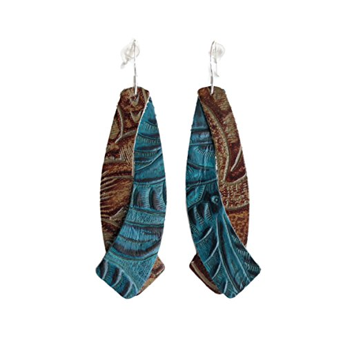 The Double Wing, Tooled Blue and Tooled Brown, Leather Earring with Sterling Silver Hooks from OneWild. Handmade in Denver, CO USA. $1 donation goes to women and girls programs, Project1Wild.