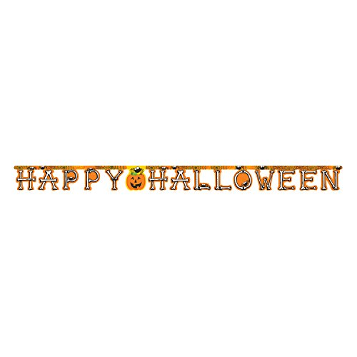 Club Pack of 12 Orange Happy Halloween Pumpkin, Spiders, and Bones Banner 8']()