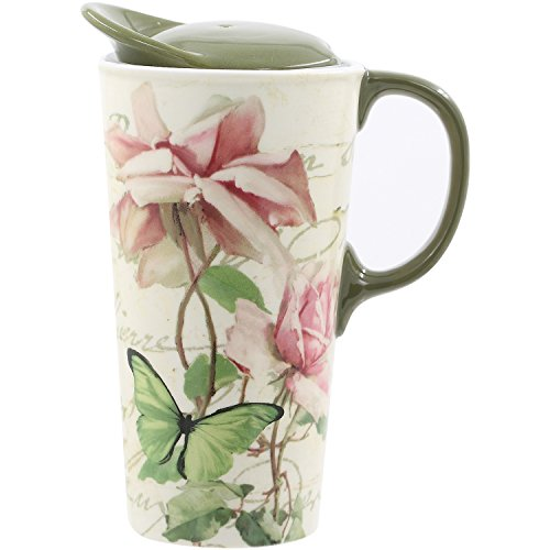 CEDAR HOME Coffee Ceramic Mug Porcelain Latte Tea Cup With Lid in Gift Box 17ounce. Pink Floribunda Flower
