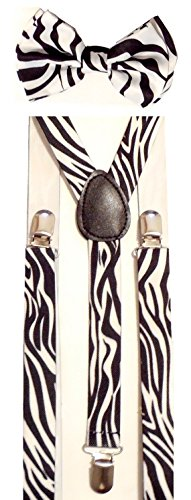 Mens Unisex Awesome ZEBRA B/W Print Suspenders And Matching Bow tie Set - Adjustable]()