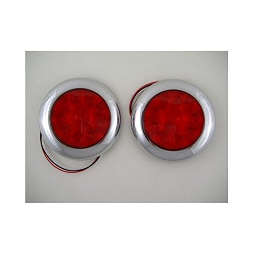 Red-10-LED-4-Round-Surface-Mount-Stop-Turn-Brake-Tail-Lights-Chrome-Bezel