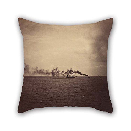 beeyoo Cushion Cases of Oil Painting Gustave Le Gray (French - Seascape with Sailing Ship and Tugboat 20 X 20 inches / 50 by 50 cm Best Fit for Birthday Teens Shop Deck Chair Bar Seat Indoor 2 Sides