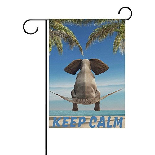 Johnnie Quote Garden Flag 12 X 18 Inches, Elephant Stares Ocean Sea Beach Double Sided Seasonal Outdoor Flag and Best for Party Yard Home Decor]()