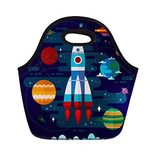 [해외]Semtomn 네오프렌 점심 토트 백 다채로운 공예 평면 공간 우주선 Ufo와 행성 갤럭시 재사용 쿨러 가방 절연 열 피크닉 핸드백 트래블 스쿨 아웃 도어 작업 / Semtomn Neoprene Lunch Tote Bag Colorful Craft Flat Space Spaceship Ufo and Planets ...