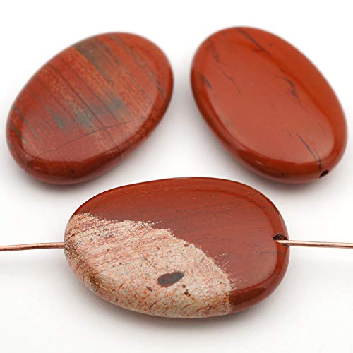 3 Pcs Large Flat Oval Red White Lace Jasper Beads 30mm