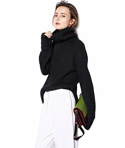 - FINCATI Autumn Winter Sweater Cashmere Womens Clothing Turtleneck Pullover Asymmetrical Length Ribbed Sweater Black (XL, Black)