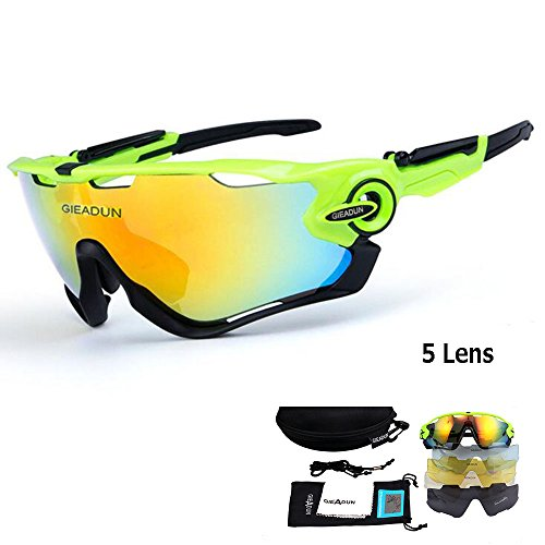 Polarized Sports Sunglasses UV400 Protection Cycling Glasses With 5 Interchangeable Lenses for Cycling, Baseball ,Fishing, Ski Running ,Golf 69 characters left (Green - Bike Polarized Sunglasses Lens 5