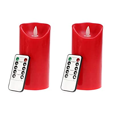 LEDMOMO LED Candle Light Bright Flameless Candles Battery Operated Decorative Candles With Remote Control and Timer for Home Bars Hotel Party Valentine's Day Wedding Decor - Red (2 Pcs): Home & Kitchen