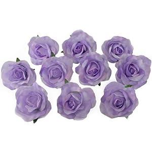 10 Lavender Rose Heads Silk Flower Wedding/Reception Table Decorations Bulk Silk Flowers 118