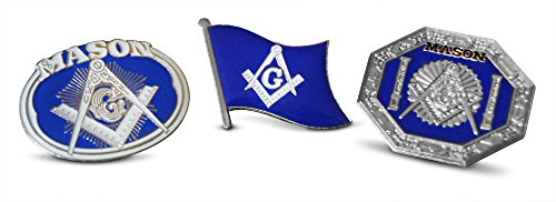 3-Piece Freemason Free Masonic Crest Lapel or Hat Pin and Tie Tack Set with Clutch Back by Novel Merk